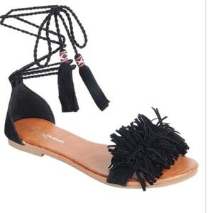 Black fringe  tie up sandals